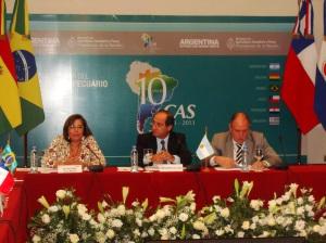 Alejandra Sarquis, Secretaria Técnica del CAS - Lorenzo Basso, Secretario de Agricultura - Gustavo Alavares, Subsecretario de Coordinación Política de Argentina